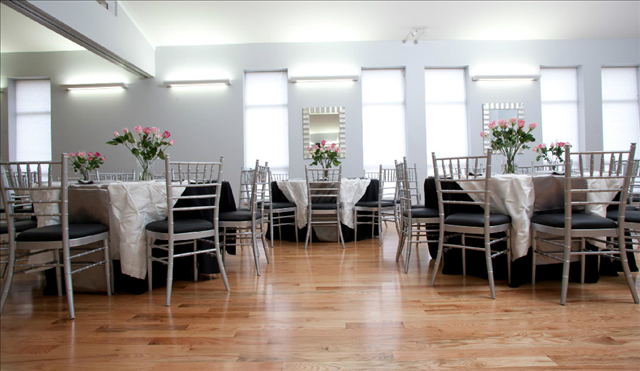 Hall A Decorated in Gray and White Tablecloths