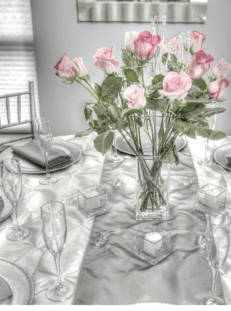 Glasses and Center Pieces